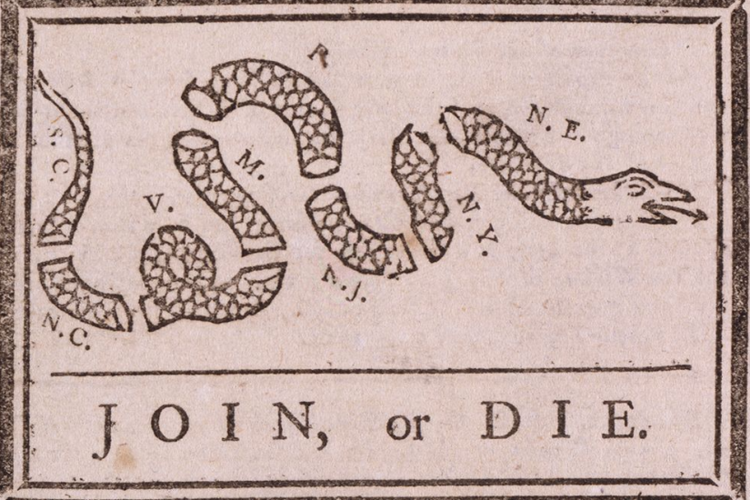 """""""JOIN, or DIE"""" political cartoon with illustration of severed snake"""