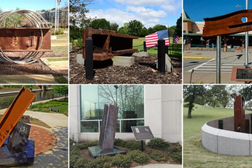 A composite of 9/11 memorials built from steel salvaged at Ground Zero.