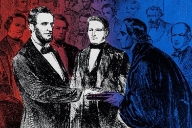 Drawing of Lincoln with his hand on a Bible during a swearing-in with two other people