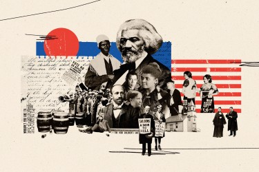 Artistic collage of black leaders surrounded by images associated with prohibition.