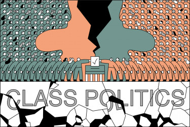 class politics graphic of voters facing off