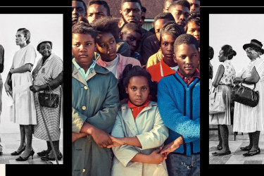 Civil rights era photo of young people protesting for voting rights in between black and white photos of black people lined up to vote