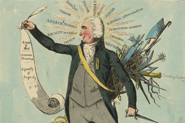Political cartoon lampooning Thomas Paine and his beliefs