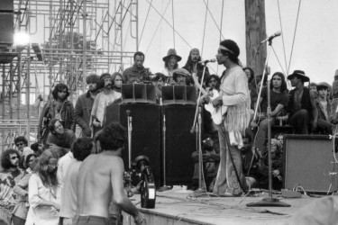 Hendrix performing at Woodstock