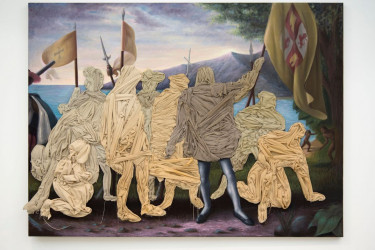 """Artist Titus Kaphar says that his 2014 Columbus Day Painting—which greets """"Unseen"""" visitors in the first gallery—was inspired by his young son's conflicted and confusing study of the putative discoverer of America."""