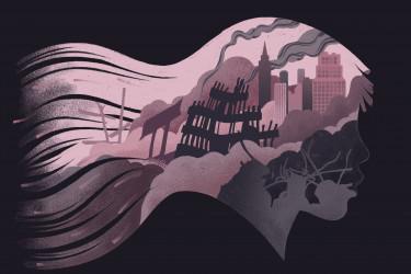Illustration of 9/11 inside outline of girl