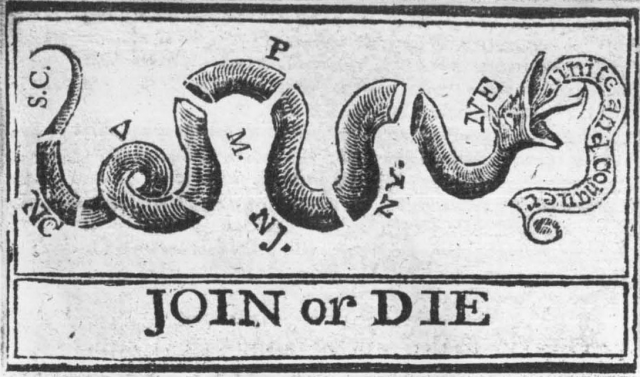 """Variation of the """"JOIN, or DIE"""" political cartoon"""