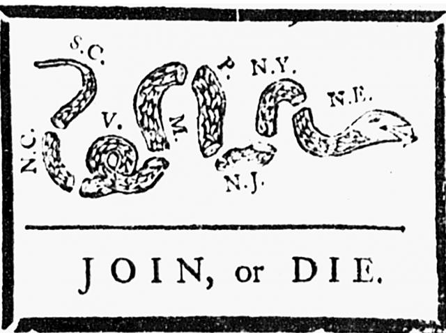 "Variation of ""JOIN, or DIE"" political cartoon"