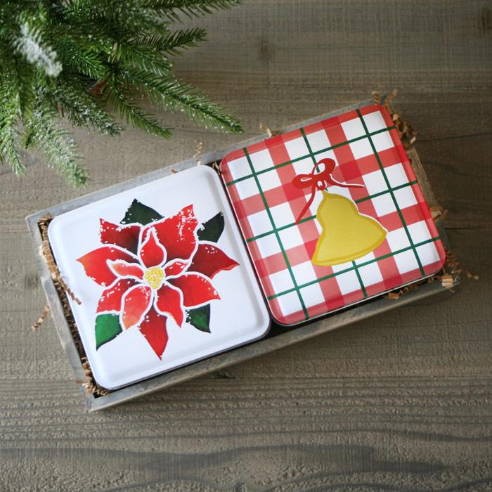 Holiday 2 Tin Gift Tray - Bell & Poinsettia