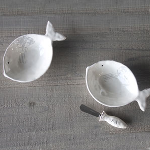 SAVANNAH Ceramic Fish Bowl and Spreader