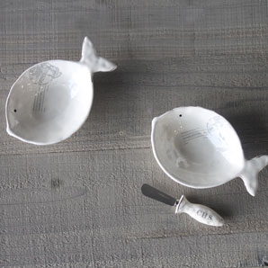 CHARLESTON Ceramic Fish Bowl and Spreader
