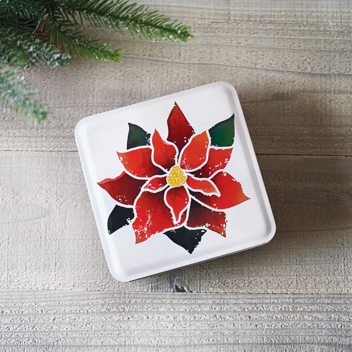 Holiday POINSETTIA Gift Tin - Praline Cookies