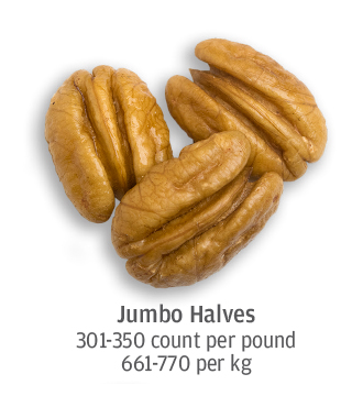 size comparison of jumbo pecan halves, 661-770 pecans per kilogram
