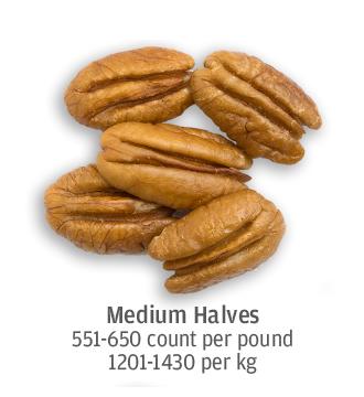 size comparison of medium sized pecan halves, 1201-1430 pecans per kilogram