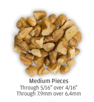 medium sized pecan pieces measuring up to 7.9 millimeters in size