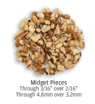 Irregularly cut midget pecan pieces up to 4.8 millimeters in size