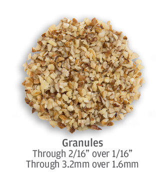 Fine pecan granules ranging from 1.6 to 3.2 millimeters
