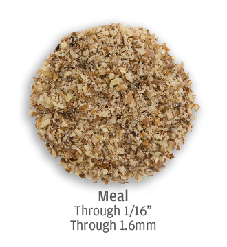 Fine pecan meal crushed down to 1.6 millimeters or less