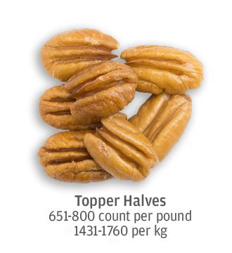size comparison of topper pecan halves, 1431-1760 pecans per kilogram