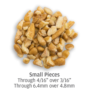 small sized pecan pieces up to 6.4 millimeters in size