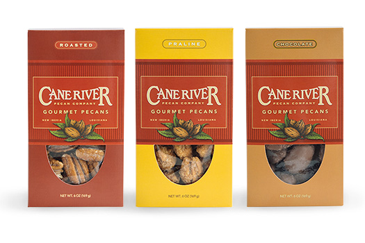 Cane River Pecan 6 Ounce Gift Boxes of Chocolate, Praline and Roasted Pecans