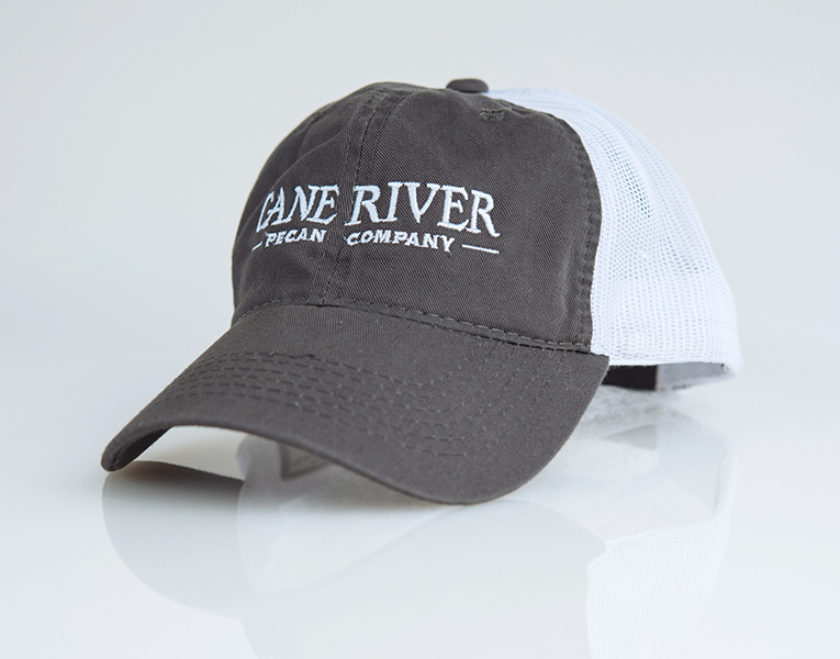 Adjustable Grey and White Cane River Pecan Company Mesh Cap