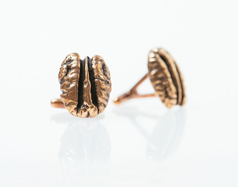 Bronze Cane River Pecan Cufflinks by Madeline Ellis