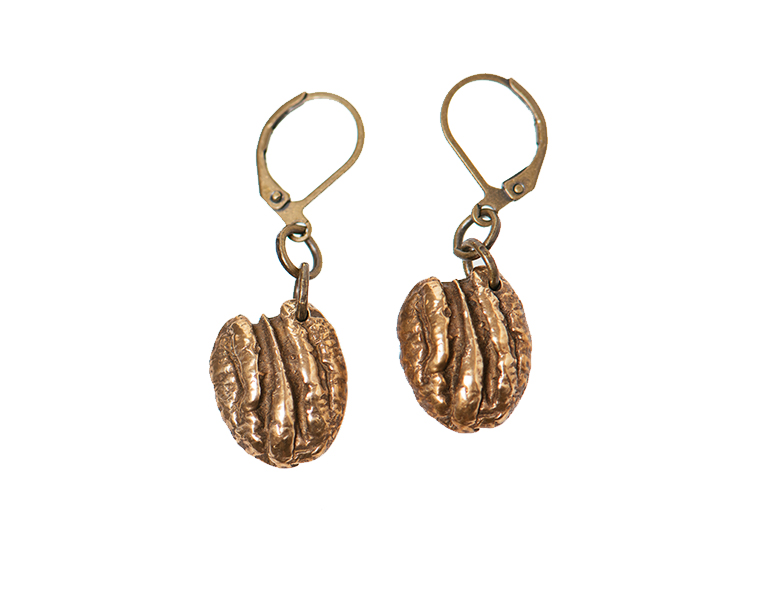 Bronze Cane River Pecan Earrings by Madeline Ellis