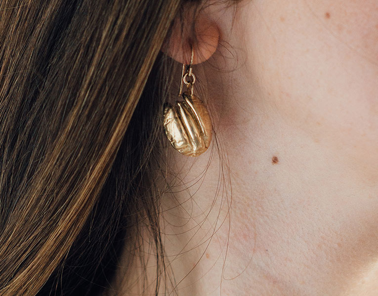 Bronze Cane River Pecan Earrings by Madeline Ellis