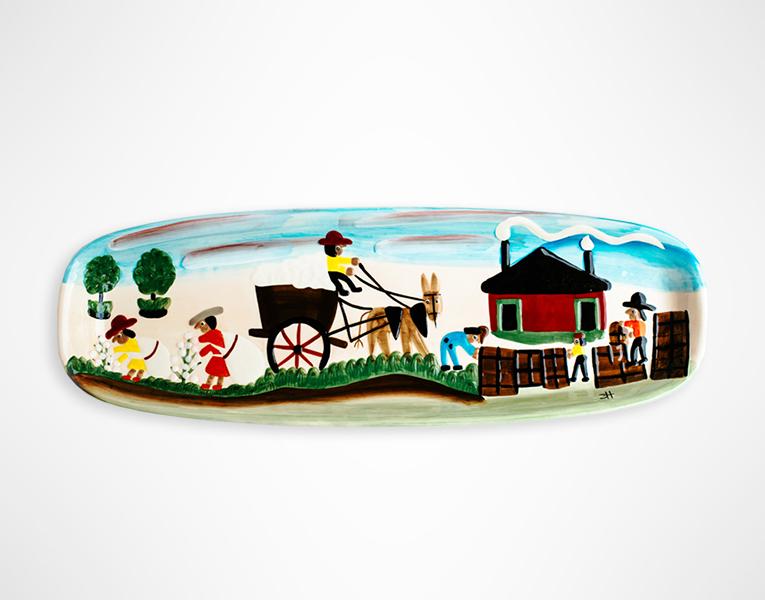 Clementine Hunter Melrose Plantation Cotton Mural Ceramic Serving Tray