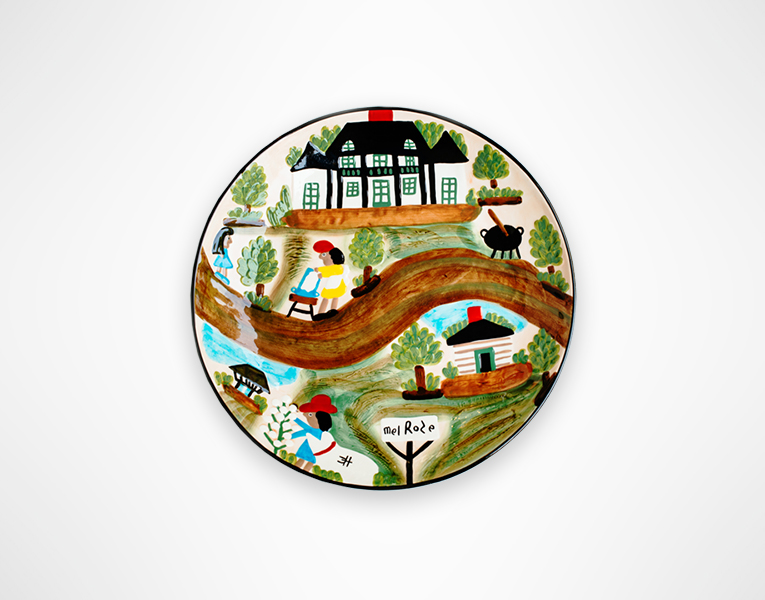 Round Serving Platter Depicting