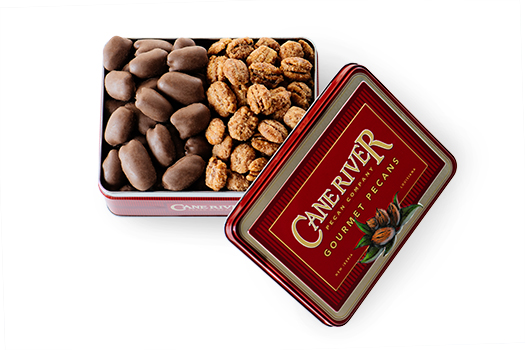 Cane River PEcan Duo Gift Tins with Milk Chocolate Coated Pecans and Praline Pecans