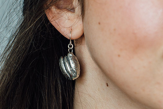 Sterling Silver Pecan Earrings