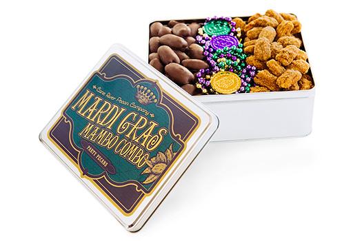 Milk Chocolate and Praline Pecans Executive Mardi Gras Tin