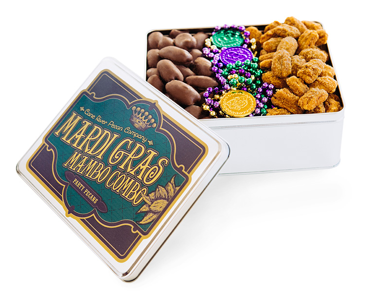 Milk Chocolate and Praline Pecans Executive Mardi Gras Tin
