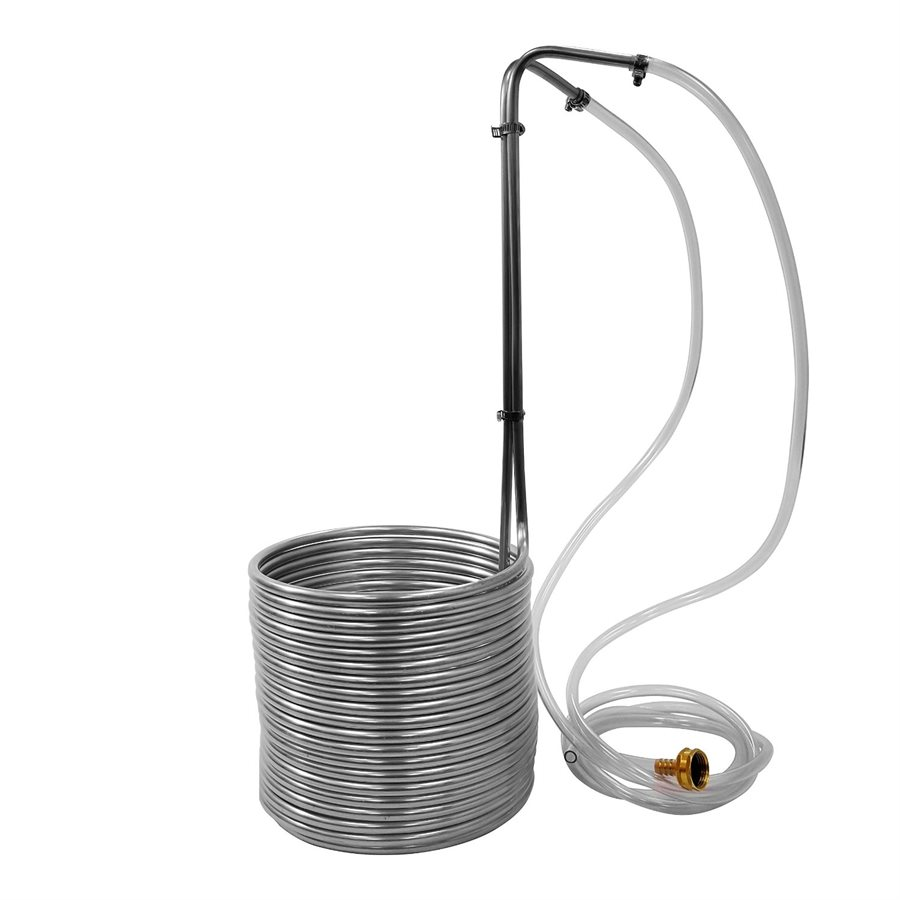 "3/8"" x 50' Stainless Wort Chiller with Garden Hose Fittings"