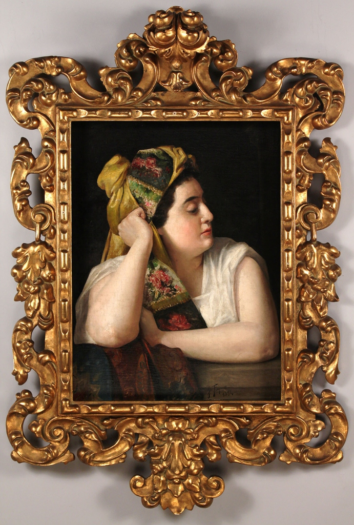 Lot 328: Spanish School 19th c., portrait of woman w turban