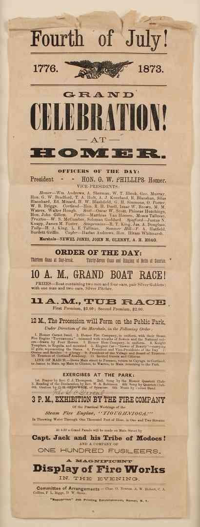 Lot 75: Broadside, Fourth of July 1873, Homer NY