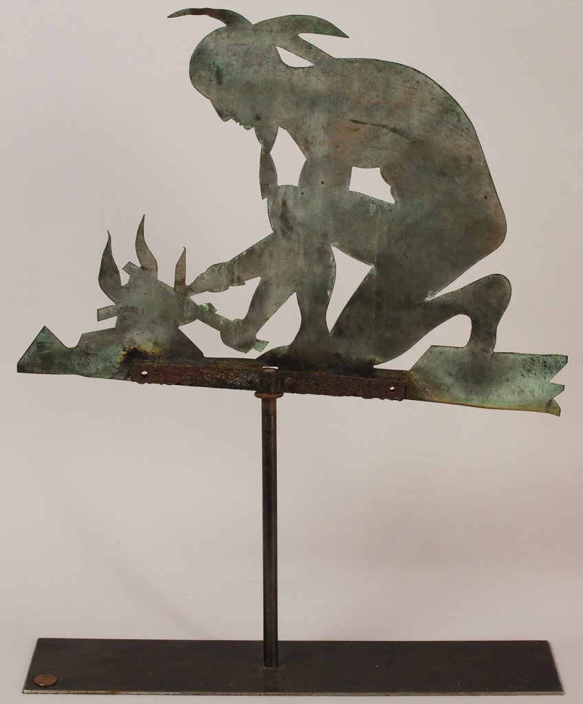 Lot 86: Weathervane, Native American tending fire
