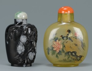 Lot 244: 2 Chinese Snuff Bottles, Obsidian & Reverse Paint