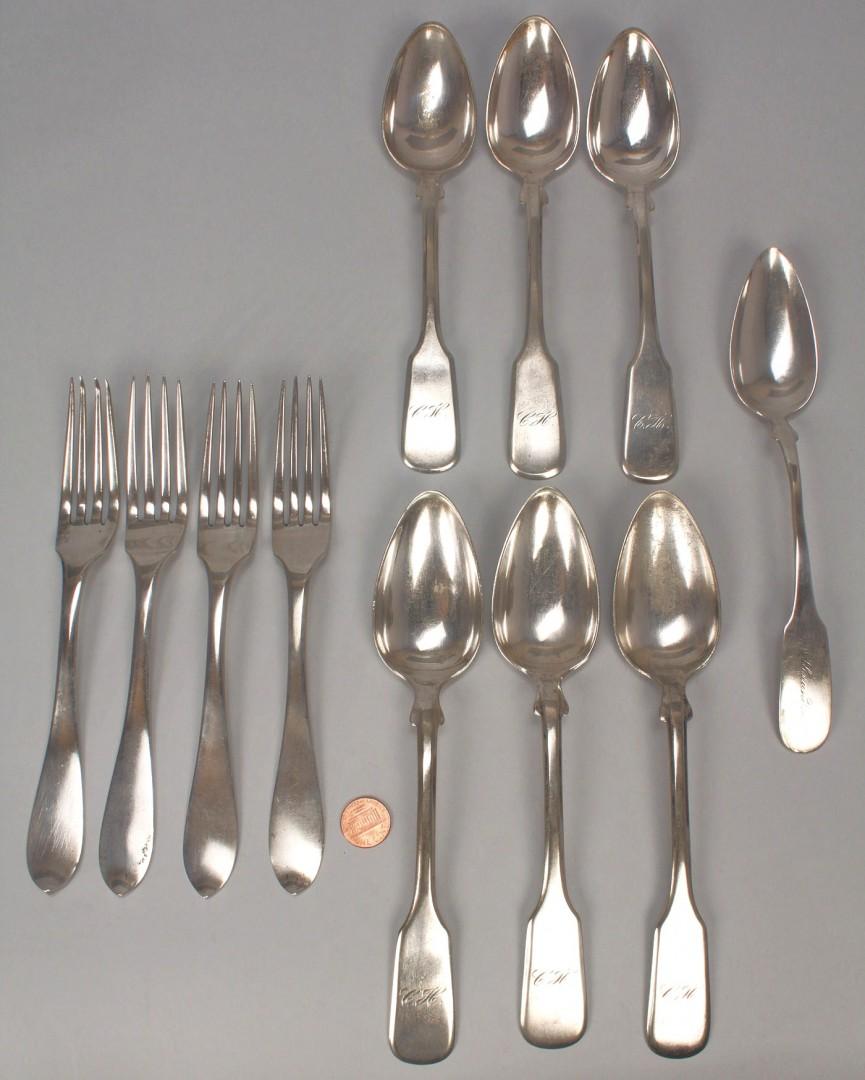 Lot 369: Assembled group of European silver flatware, 11