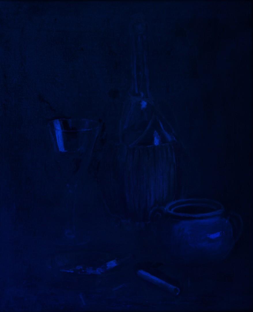 Lot 424: Cornelius Hankins o/c, Still Life with Cigarettes