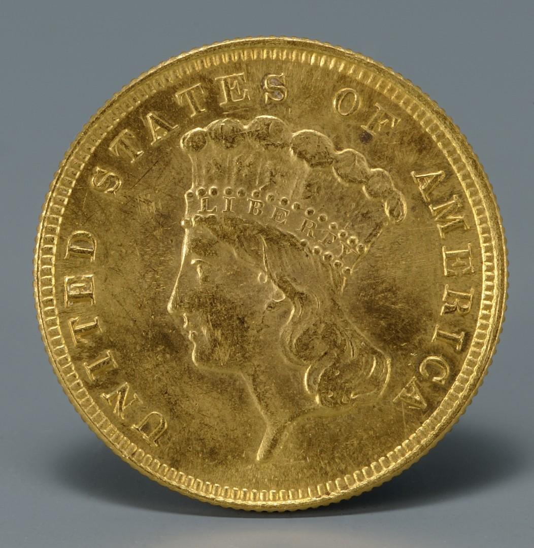 Lot 742: Three 1882 U.S. 3 Dollar Gold Coins