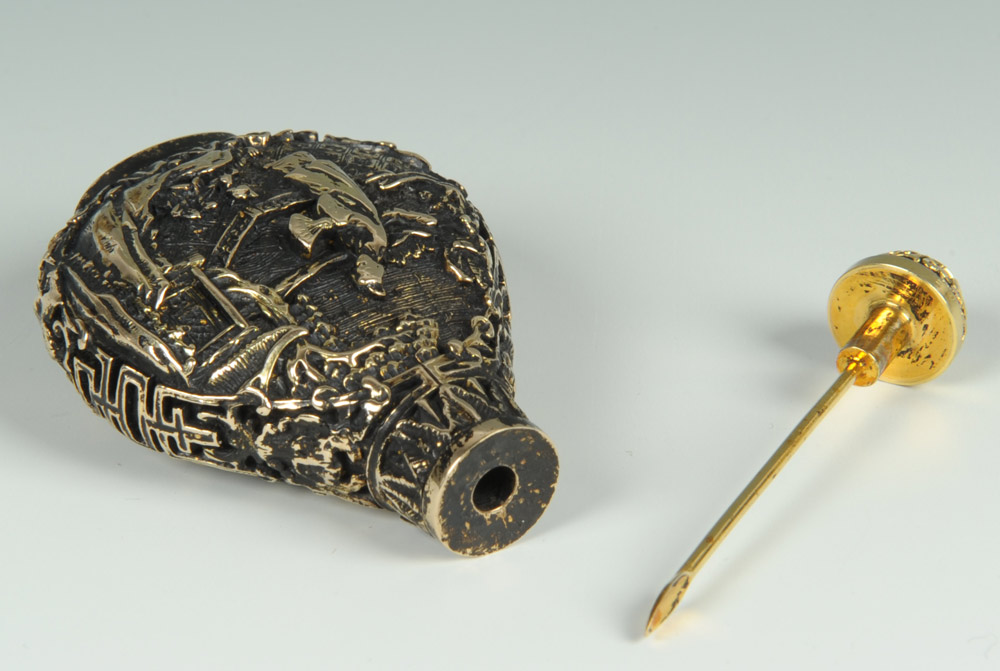 Lot 9: Chinese 14K Gold Carved Snuff Bottle, 83.8 grams