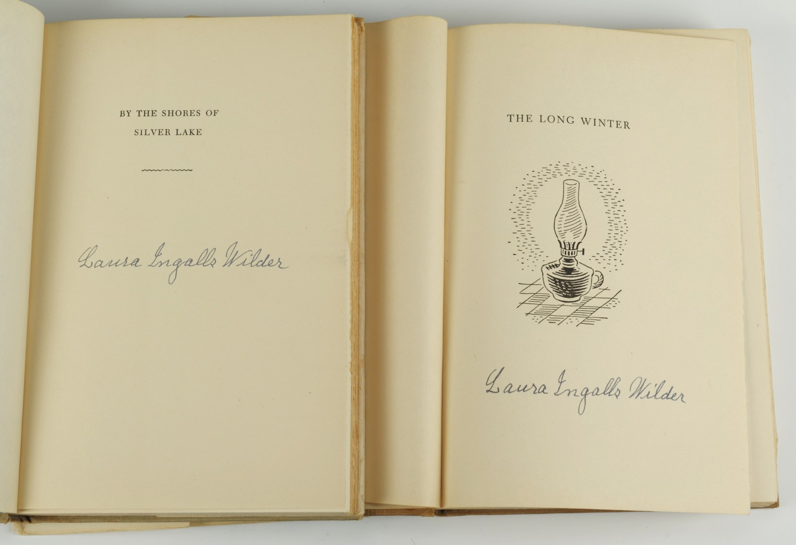 "Lot 349: 2 signed Laura Ingalls Wilder ""Little House"" books"