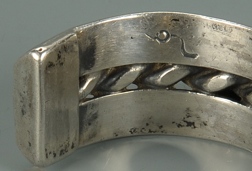 Lot 678: Turquoise and Silver Nugget Bracelet, Native Ameri