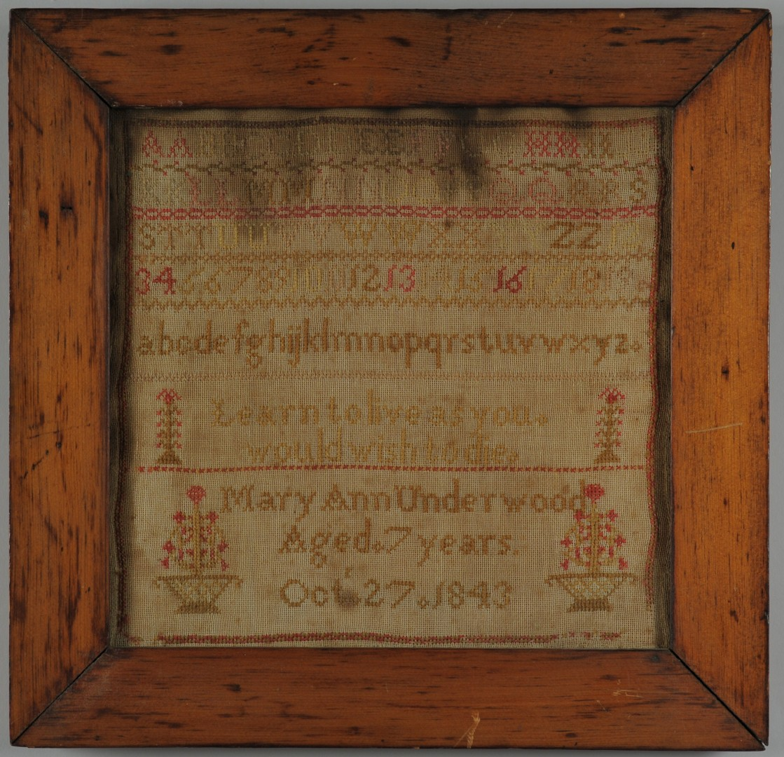 Lot 589: Sampler, possibly Kentucky, plus Irish prayer samp