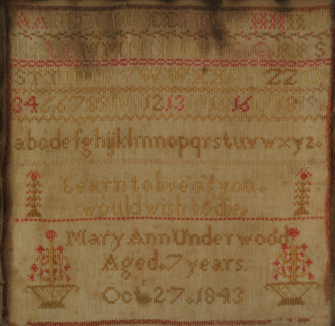 Lot 589: Sampler, possibly Kentucky, plus Irish prayer samp
