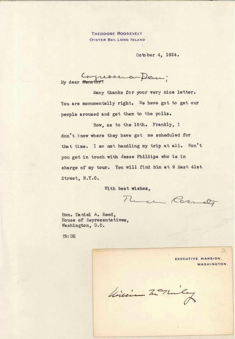 Lot 500: 2 Presidential Documents: Letter, Calling Card