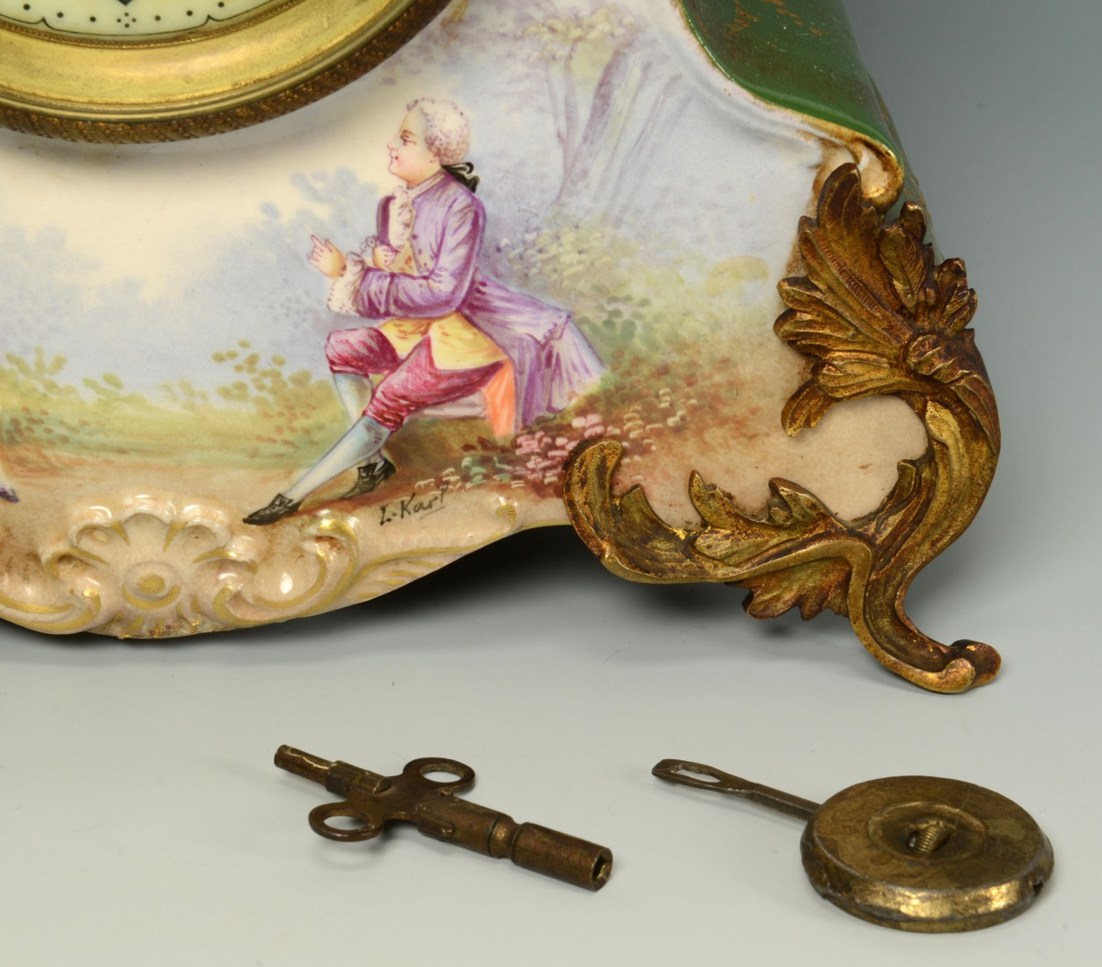 Lot 170: French Hand Painted Porcelain Clock